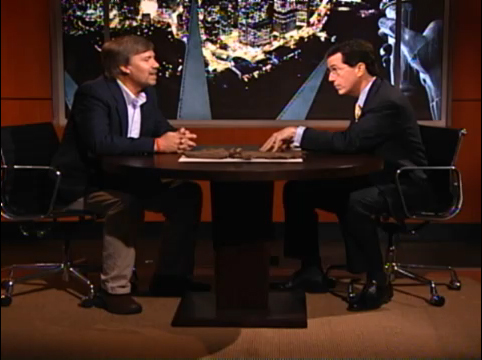 Dr. Ted Daeschler with Stephen Colbert