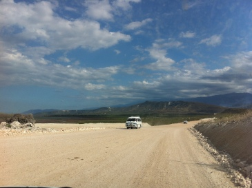 New road to replace the one that was flooded near Lake Enriquillo