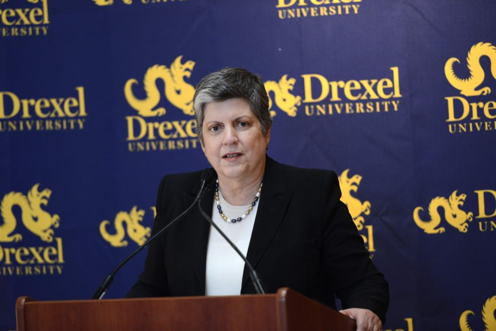 U.S. Secretary of Homeland Security Janet Napolitano, speaking at Drexel University about campus safety and preparedness
