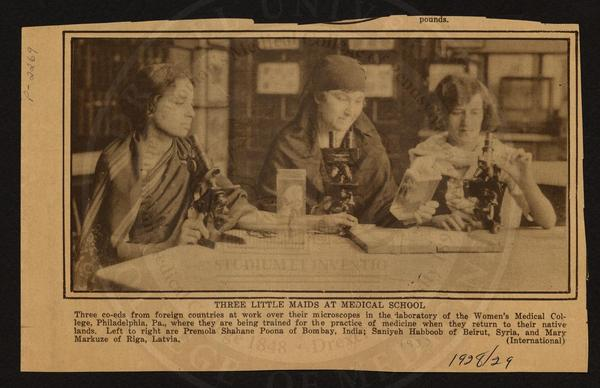 Another photo from the Legacy Center archives depicts three international female medical students in 1928 (from India, Syria and Latvia) at the Woman's Medical College.