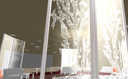 The digital media students took special care in creating the texture and lighting of the etched glass.