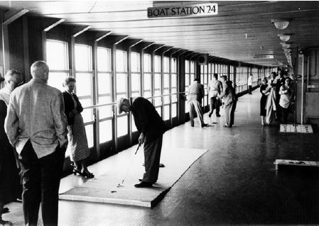 A bustling Promenade Deck from the ship's prime.