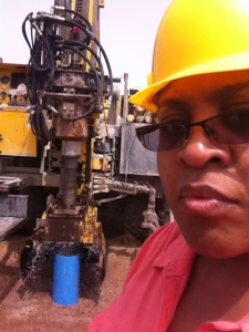Shannon Marquez, PhD, associate dean for academic affairs in Drexel's School of Public Health and director of Global Public Health Initiatives, at a well-drilling site in northern Ghana