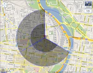 Coverage map that will be tested as part of Drexel's wireless research.