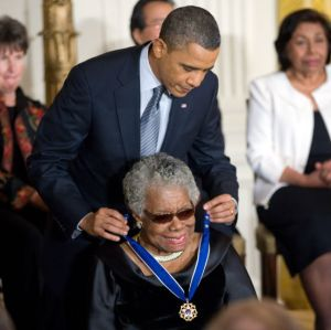 President Barack Obama presenting Maya Angelou with the Presidential Medal of Freedom