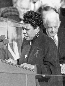 "Maya Angelou reciting her poem, ""On the Pulse of Morning"", at President Bill Clinton's inauguration in 1993"