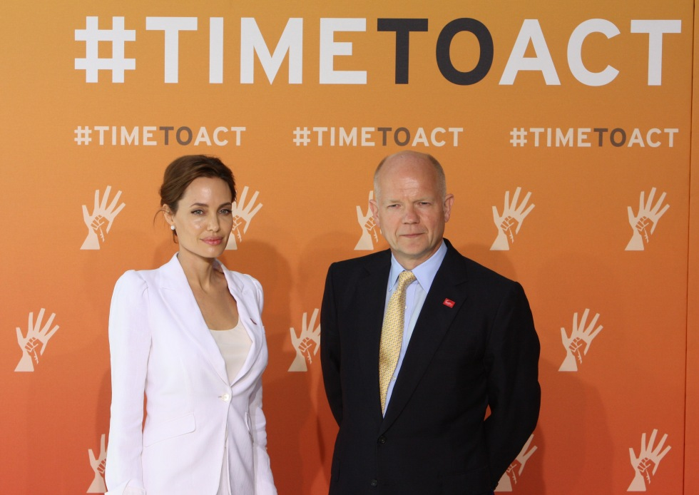 UN Special Envoy Angelina Jolie and Foreign Secretary William Hague address the media at ExCel London ahead of the opening of the Summit Fringe
