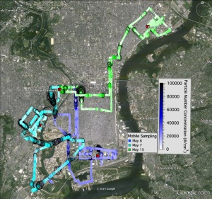 This spring the team plotted a course through the city to collect and test air samples.