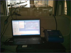 Monitoring equipment was mounted inside the van to generate real-time data during testing runs.