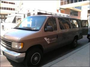 A senior design group turned this 12-passenger Ford van into a mobile air quality testing laboratory.
