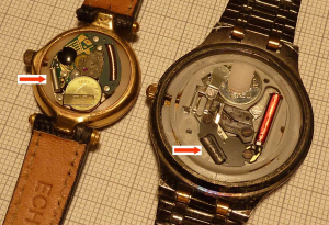 Quartz resonators, like the ones pictured here, keep a watch running on time. Similar technology used in the Shihs' piezoelectric plate sensor could be used to detect bacterial DNA.
