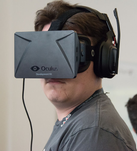 The Oculus Rift goggles give users a fully immersive virtual reality experience.