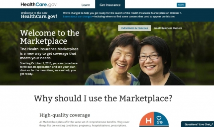 HealthCare.gov, the federal government's health insurance marketplace, launched on Oct. 1, 2013.