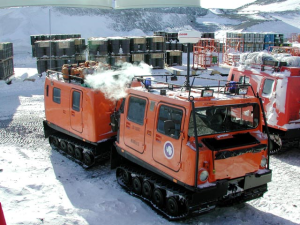 PistenBully transport vehicles, like this one, will take the team from McMurdo Station to their more remote research outpost.