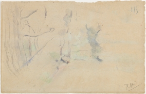 Paul Cézanne (French, 1839–1906). Recto: The Chaîne de l'Etoile Mountains (La Chaîne de l'Etoile avec le Pilon du Roi), 1885–1886. Watercolor and graphite on wove paper; Verso: Unfinished Landscape, undated. Watercolor and graphite on wove paper, Sheet: 12 3/8 x 19 1/8 in. (31.4 x 48.6 cm). BF650. Photo © 2015 The Barnes Foundation