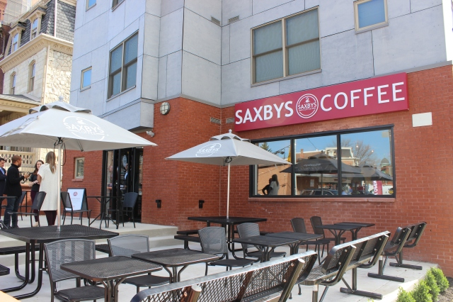 Exterior of the new Saxbys Coffee shop at Drexel University