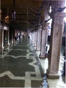 "Flooding in Venice during ""acqua alta"" phenomenon."