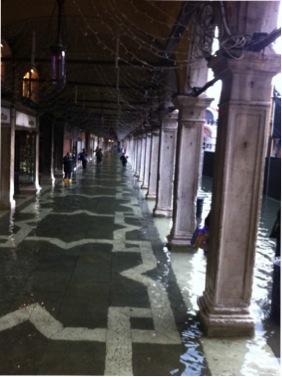 """Flooding in Venice during """"agua alta"""" phenomenon."""