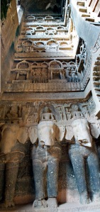"In the Karla Caves, Buddhist caves from the first few centuries AD, sculptural design elements were carved right into the basaltic lava flows of the Deccan Traps. ""What's interesting is that you can see the contacts between the different lava flow units, and all the internal lava flow structure, in the carved low reliefs of the cave,"" said Drexel geologist Loÿc Vanderkluysen. Credit: Loÿc Vanderkluysen"