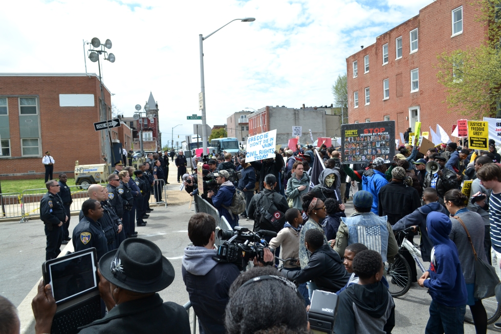 Protest at the Baltimore Police Department Western District building.