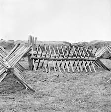 Barriers comprised of multiple sets of spikes -Cheveaux de Frise- were used both on land and in the water to thwart attackers.