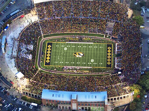 An aerial view of a sold-out Faurot Field, courtesy of the University of Missouri.