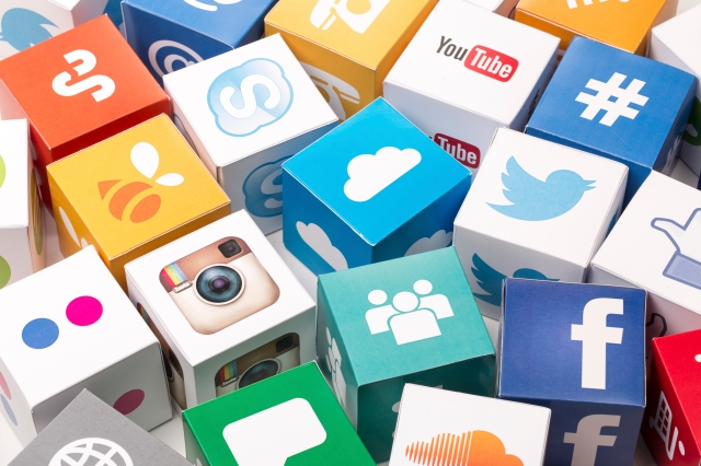 Sakarya, Turkey - May 1, 2015: Paper cubes with Popular social media services icons.