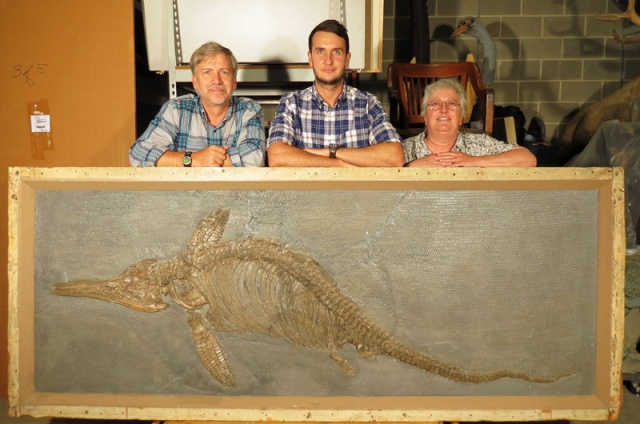 The Ichthyosaurus somersetensis with ed Daeschler, Dean Lomax and Judy Massare.