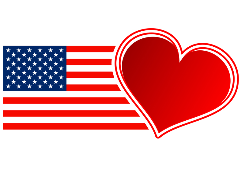United States flag with a heart overlapping the stripes at the end