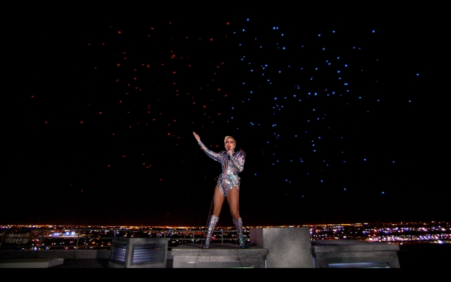 Intel Shooting Star drone fleet lights up the sky behind Lady Gaga for the Pepsi Zero Sugar Super Bowl LI Halftime Show on Sunday, Feb. 5, 2017. (Credit: Intel Corporation)