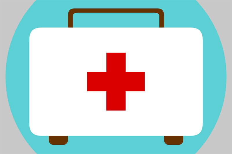 A drawn doctor's bag with a red cross on it