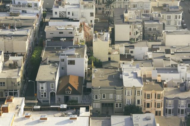 An overhead view of a city neighborhood
