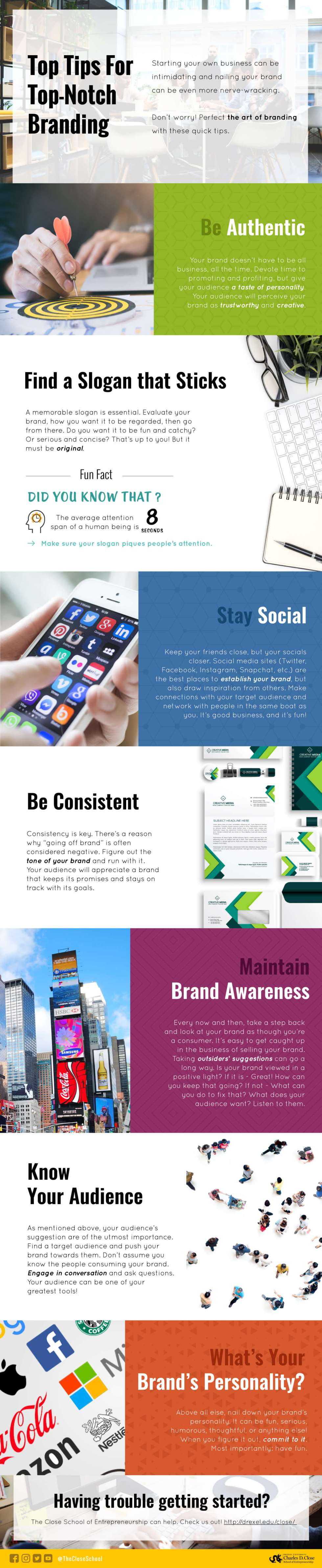 Infographic with top tips for branding. They are being authentic, finding a slogan, staying social, being consistent, having brad awareness, knowing your audience and knowing the brand's personality.