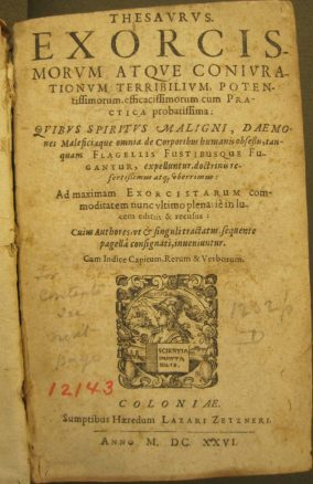 Title page of a 1626 edition of the Thesaurus Exorcismorum