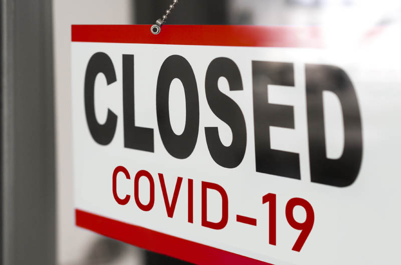 Closed businesses for COVID-19 pandemic.